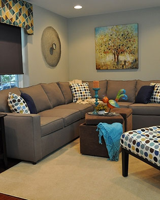 Vibrant Basement Family Room